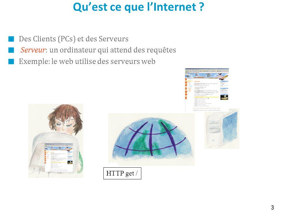 Quest ce que lInternet ? Des Clients (PCs) et des Serveurs Serveur: un ordinateur qui attend des requêtes Exemple: le web utilise des serveurs web 3 H