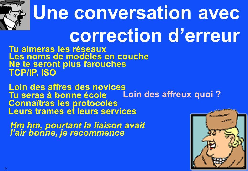 9 Une conversation avec correction derreur Tu aimeras les réseaux Les noms de modèles en couche Ne te seront plus farouches Les noms de modèles en quoi.