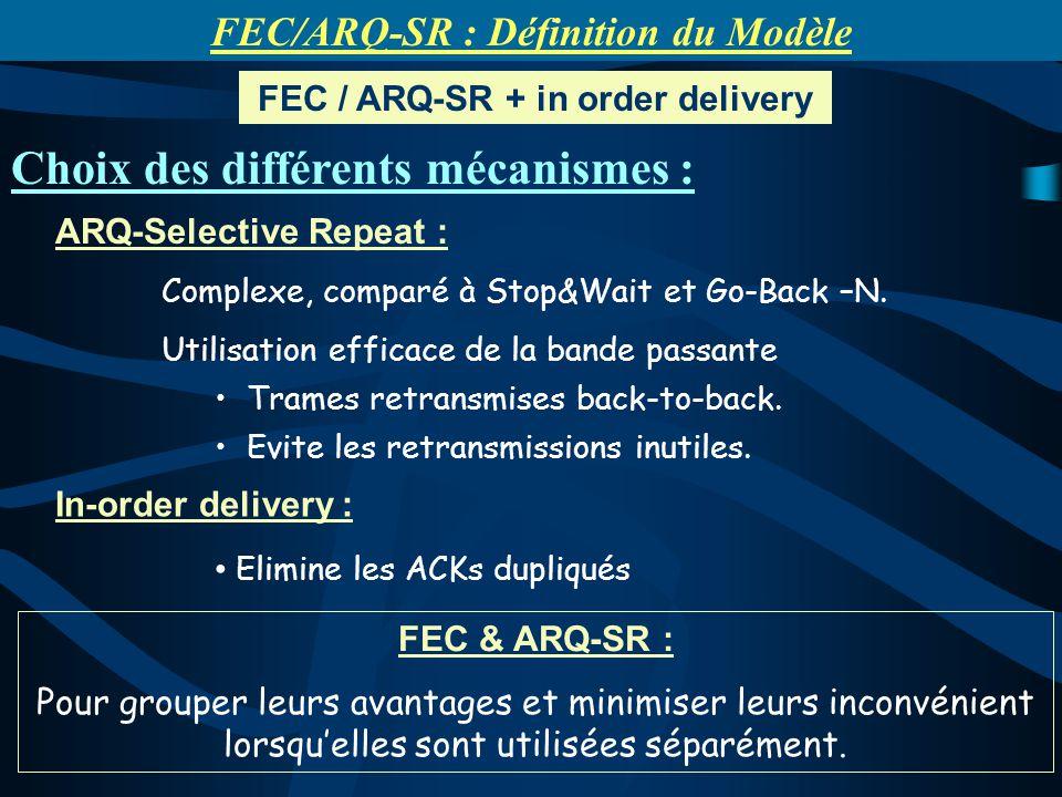 ARQ-Selective Repeat : Complexe, comparé à Stop&Wait et Go-Back –N. Utilisation efficace de la bande passante Trames retransmises back-to-back. Evite