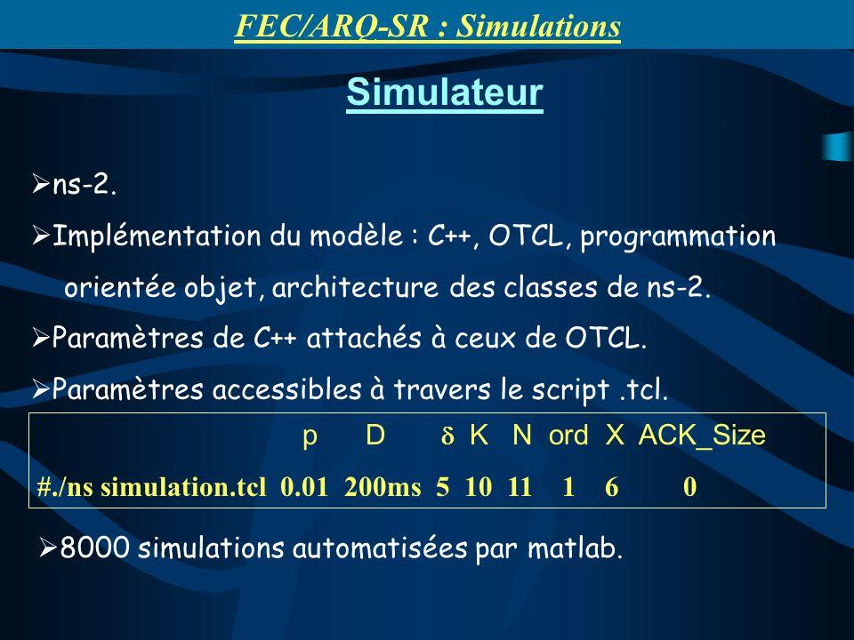 Simulateur ns-2. Implémentation du modèle : C++, OTCL, programmation orientée objet, architecture des classes de ns-2. Paramètres de C++ attachés à ce