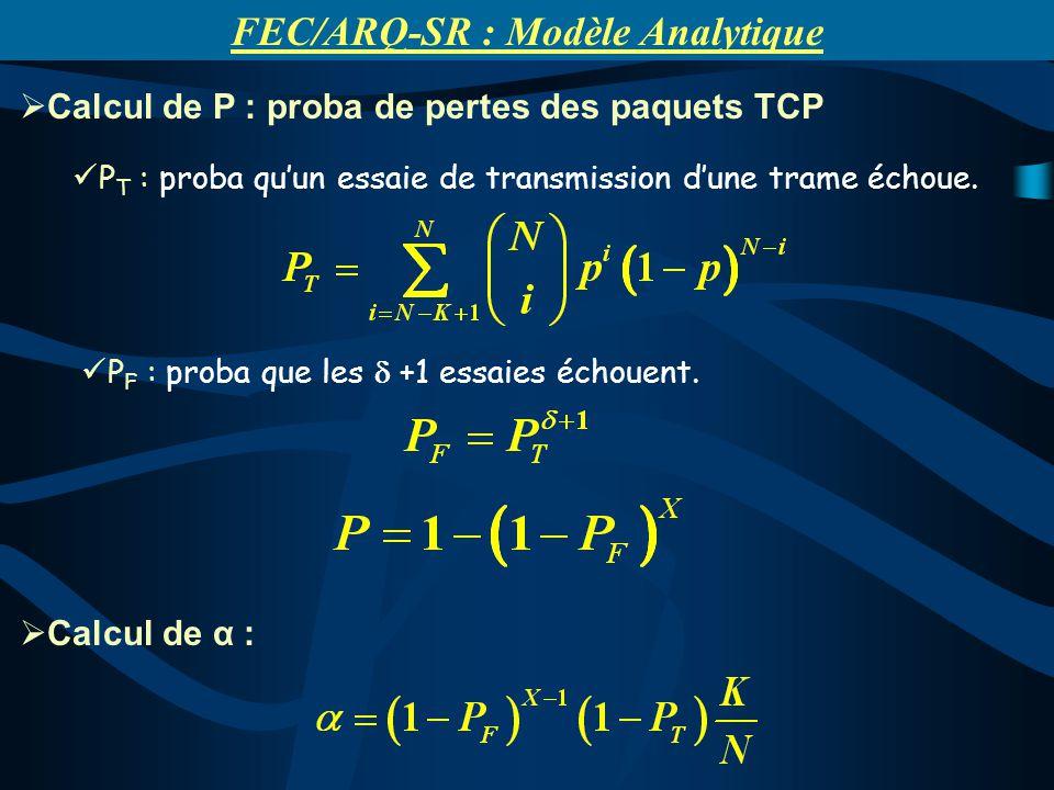 Calcul de P : proba de pertes des paquets TCP P T : proba quun essaie de transmission dune trame échoue. P F : proba que les +1 essaies échouent. Calc