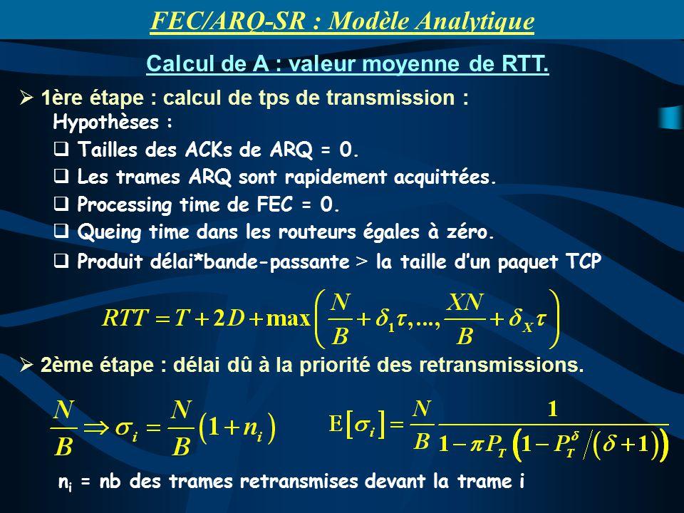 1ère étape : calcul de tps de transmission : Hypothèses : Tailles des ACKs de ARQ = 0.