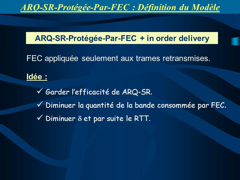 ARQ-SR-Protégée-Par-FEC + in order delivery Idée : Garder lefficacité de ARQ-SR. Diminuer la quantité de la bande consommée par FEC. Diminuer et par s