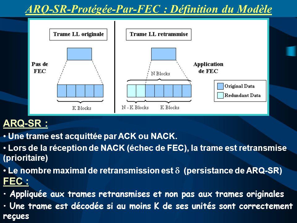 ARQ-SR : Une trame est acquittée par ACK ou NACK. Lors de la réception de NACK (échec de FEC), la trame est retransmise (prioritaire) Le nombre maxima