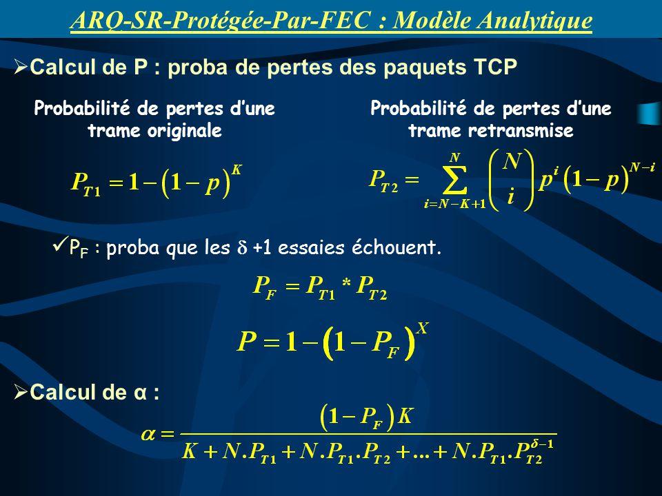 Probabilité de pertes dune trame originale Probabilité de pertes dune trame retransmise Calcul de P : proba de pertes des paquets TCP P F : proba que les +1 essaies échouent.