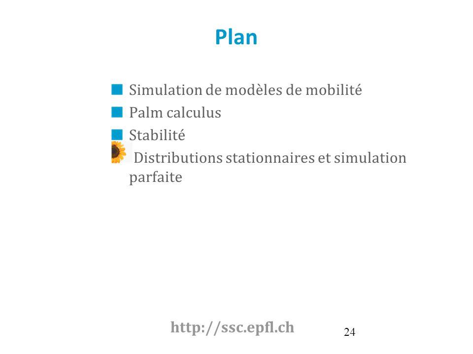 24 Plan Simulation de modèles de mobilité Palm calculus Stabilité Distributions stationnaires et simulation parfaite http://ssc.epfl.ch