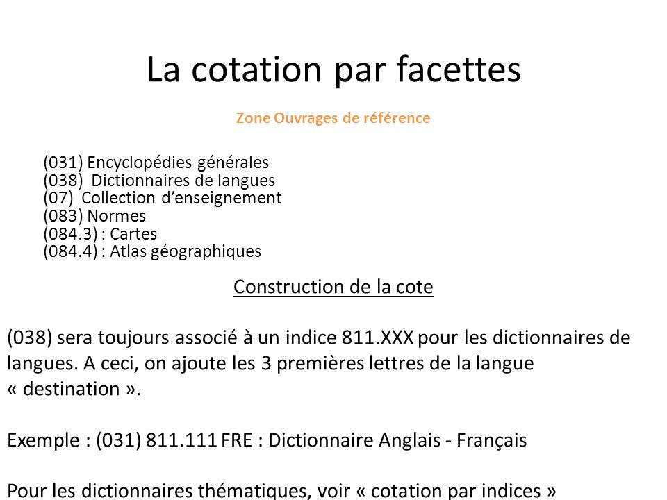 La cotation par facettes Zone Ouvrages de référence (031) Encyclopédies générales (038) Dictionnaires de langues (07) Collection denseignement (083) N