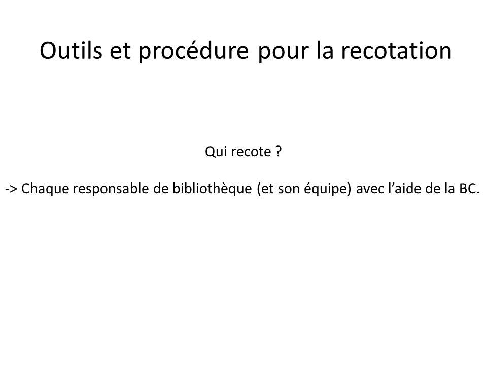 Outils et procédure pour la recotation Qui recote ? -> Chaque responsable de bibliothèque (et son équipe) avec laide de la BC.