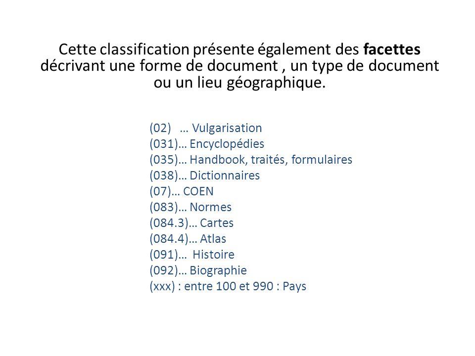 Cette classification présente également des facettes décrivant une forme de document, un type de document ou un lieu géographique. (02) … Vulgarisatio