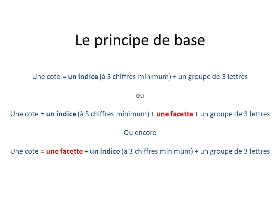Le principe de base Une cote = un indice (à 3 chiffres minimum) + un groupe de 3 lettres ou Une cote = un indice (à 3 chiffres minimum) + une facette