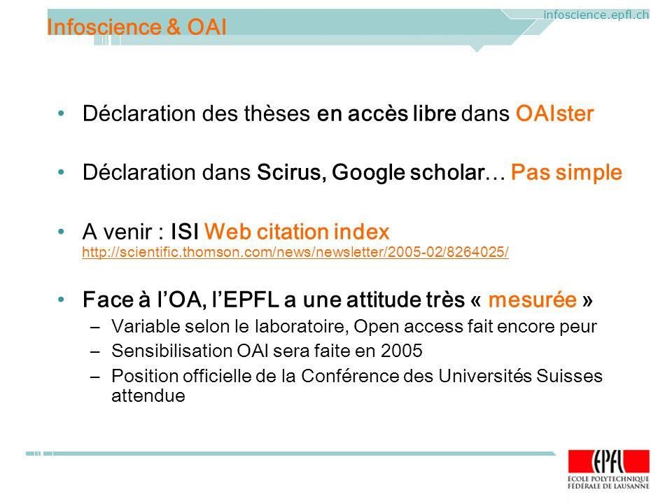 ELAG 2005. CERN, Geneva, Mercredi 1 er juin 2005 infoscience.epfl.ch Déclaration des thèses en accès libre dans OAIster Déclaration dans Scirus, Googl