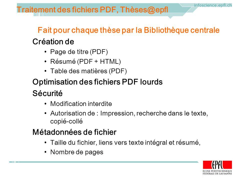 ELAG 2005. CERN, Geneva, Mercredi 1 er juin 2005 infoscience.epfl.ch Fait pour chaque thèse par la Bibliothèque centrale Création de Page de titre (PD