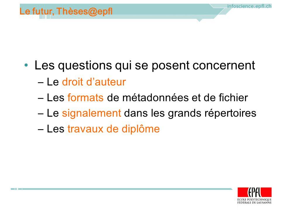 ELAG 2005. CERN, Geneva, Mercredi 1 er juin 2005 infoscience.epfl.ch Les questions qui se posent concernent –Le droit dauteur –Les formats de métadonn