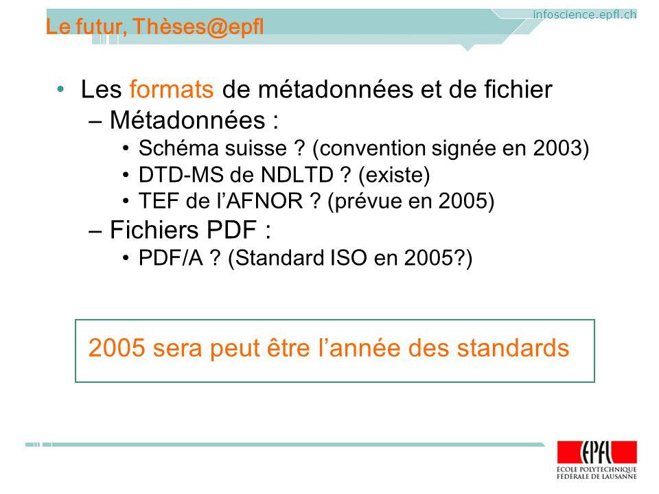 ELAG 2005. CERN, Geneva, Mercredi 1 er juin 2005 infoscience.epfl.ch Les formats de métadonnées et de fichier –Métadonnées : Schéma suisse ? (conventi