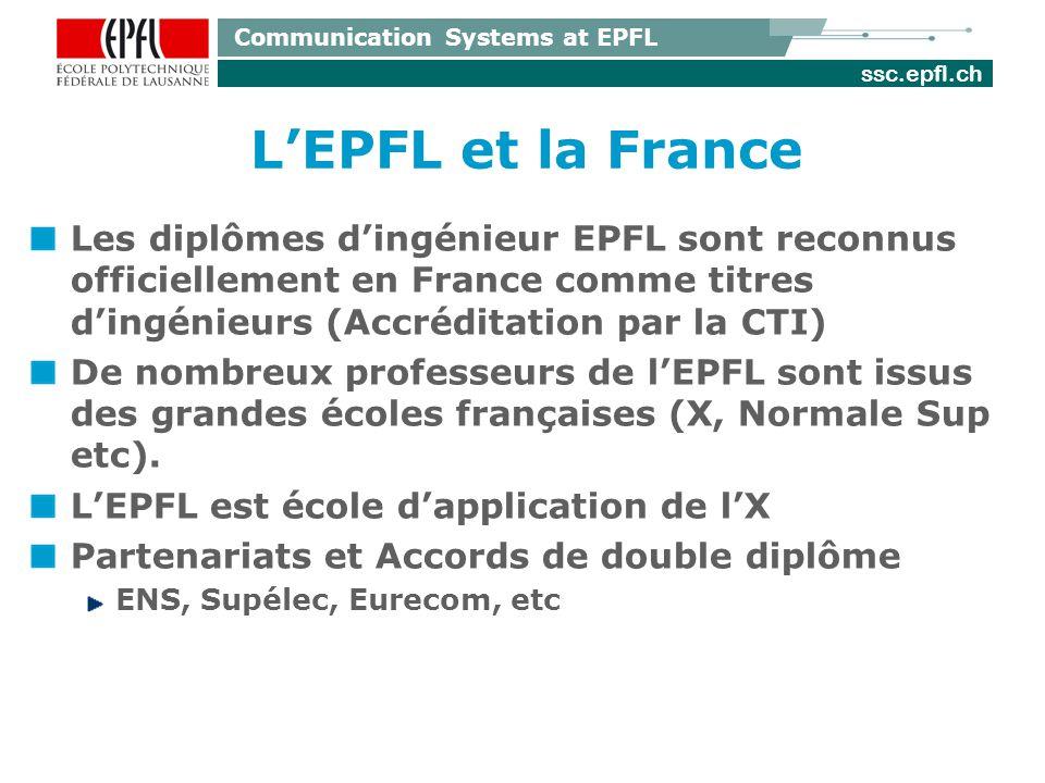 ssc.epfl.ch Communication Systems at EPFL LEPFL et la France Les diplômes dingénieur EPFL sont reconnus officiellement en France comme titres dingénie
