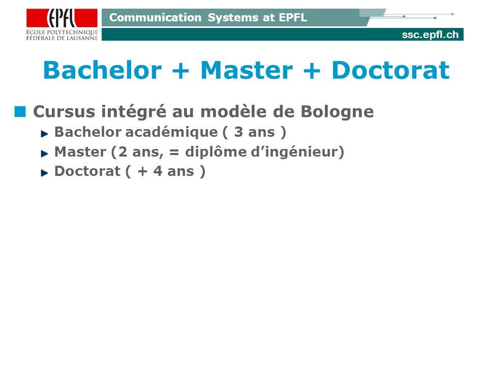 ssc.epfl.ch Communication Systems at EPFL Bachelor + Master + Doctorat Cursus intégré au modèle de Bologne Bachelor académique ( 3 ans ) Master (2 ans