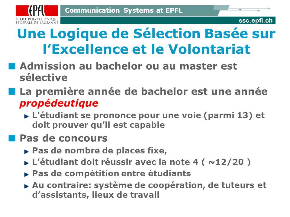 ssc.epfl.ch Communication Systems at EPFL Une Logique de Sélection Basée sur lExcellence et le Volontariat Admission au bachelor ou au master est séle