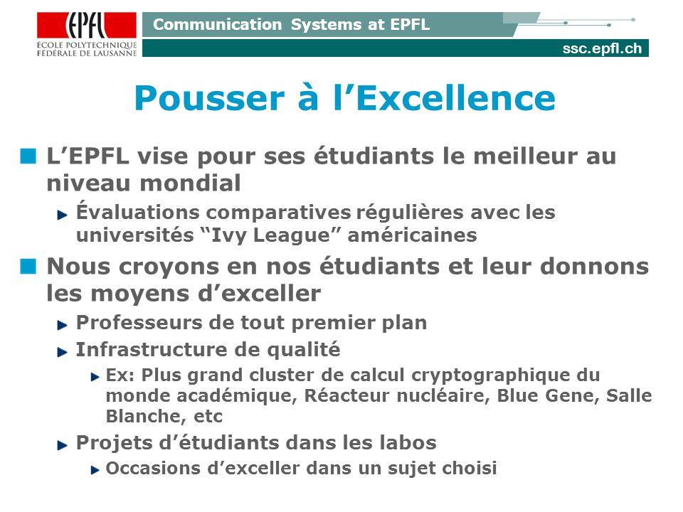 ssc.epfl.ch Communication Systems at EPFL Pousser à lExcellence LEPFL vise pour ses étudiants le meilleur au niveau mondial Évaluations comparatives r
