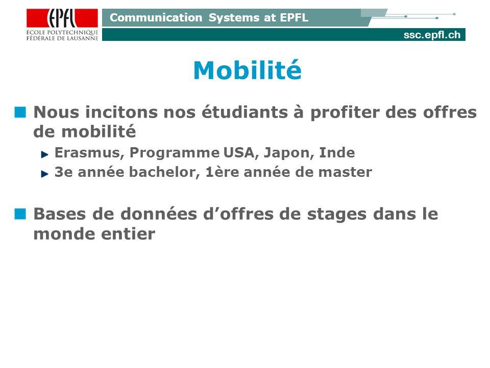 ssc.epfl.ch Communication Systems at EPFL Mobilité Nous incitons nos étudiants à profiter des offres de mobilité Erasmus, Programme USA, Japon, Inde 3e année bachelor, 1ère année de master Bases de données doffres de stages dans le monde entier