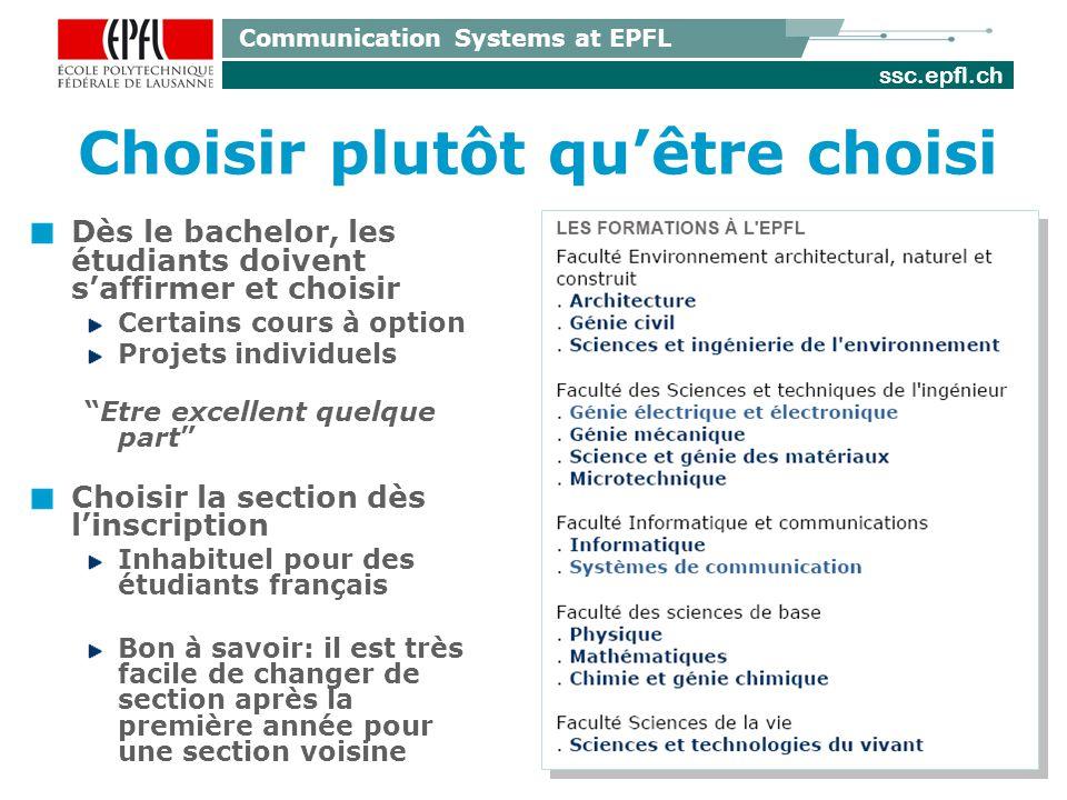 ssc.epfl.ch Communication Systems at EPFL LEPFL et la France Les diplômes dingénieur EPFL sont reconnus officiellement en France comme titres dingénieurs (Accréditation par la CTI) De nombreux professeurs de lEPFL sont issus des grandes écoles françaises (X, Normale Sup etc).