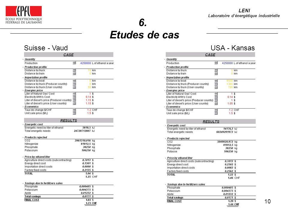 10 6. Etudes de cas LENI Laboratoire dénergétique industrielle Suisse - VaudUSA - Kansas