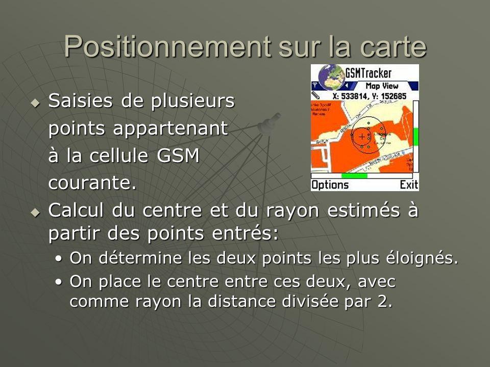 Positionnement sur la carte Saisies de plusieurs Saisies de plusieurs points appartenant à la cellule GSM courante.