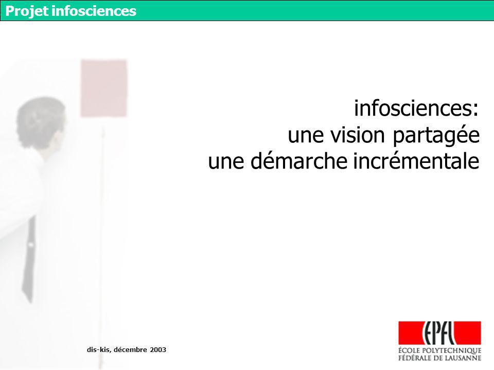 dis-kis, décembre 2003 Projet infosciences infosciences: une vision partagée une démarche incrémentale