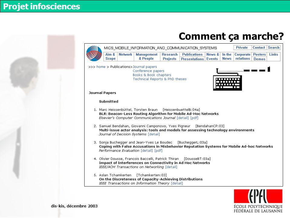 dis-kis, décembre 2003 Projet infosciences Comment ça marche