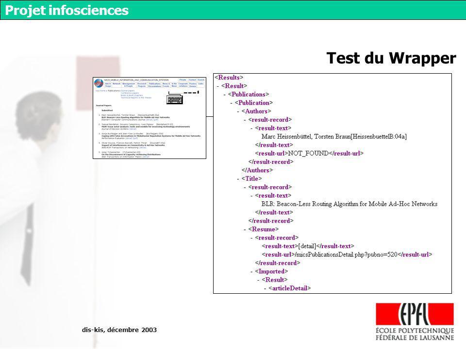 dis-kis, décembre 2003 Projet infosciences Test du Wrapper wrapper XML