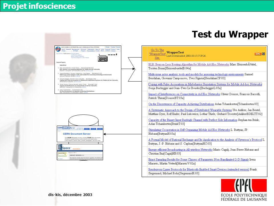 dis-kis, décembre 2003 Projet infosciences Test du Wrapper wrapper
