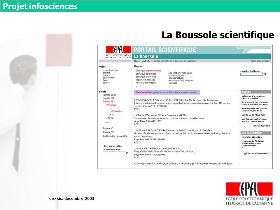 dis-kis, décembre 2003 Projet infosciences La Boussole scientifique