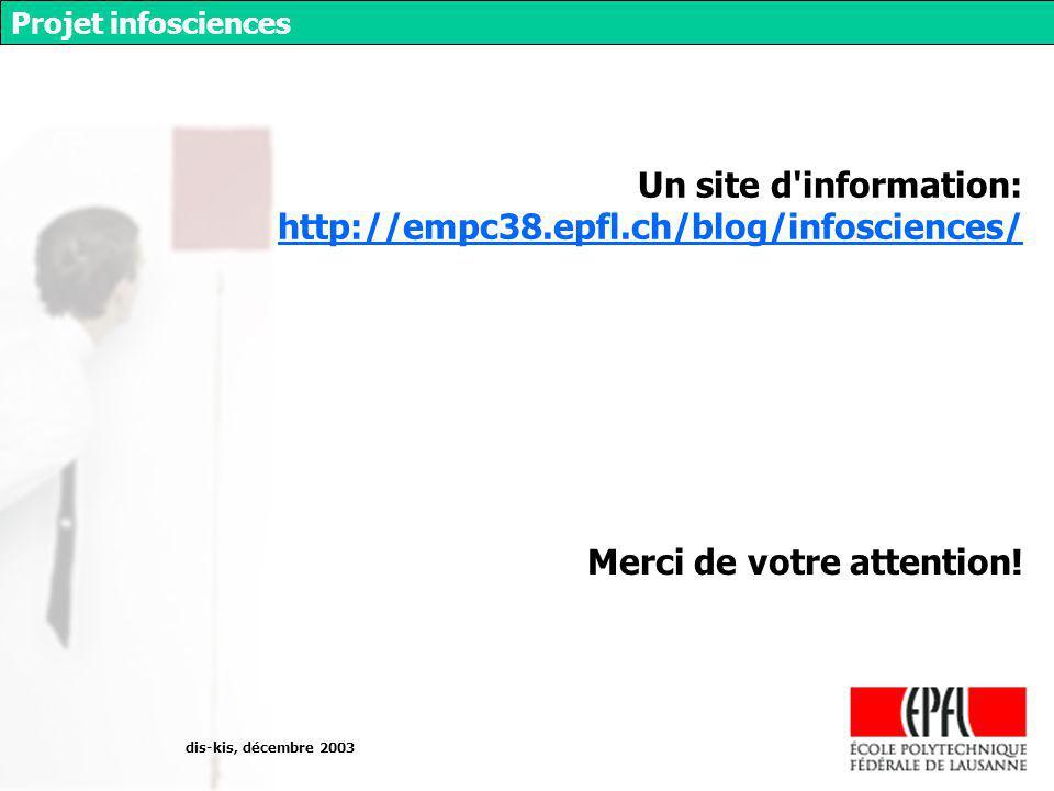 dis-kis, décembre 2003 Projet infosciences Merci de votre attention.