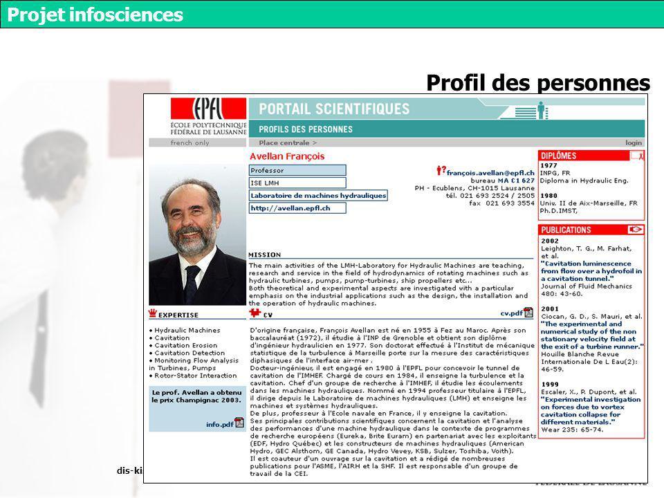 dis-kis, décembre 2003 Projet infosciences Profil des personnes