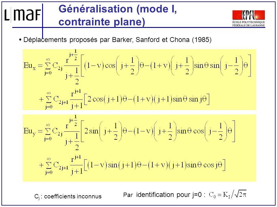 Généralisation (mode I, contrainte plane) Déplacements proposés par Barker, Sanford et Chona (1985) Par identification pour j=0 : C j : coefficients i