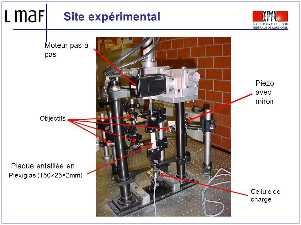 Site expérimental Cellule de charge Plaque entaillée en Plexiglas (150×25×2mm) Piezo avec miroir Moteur pas à pas Objectifs