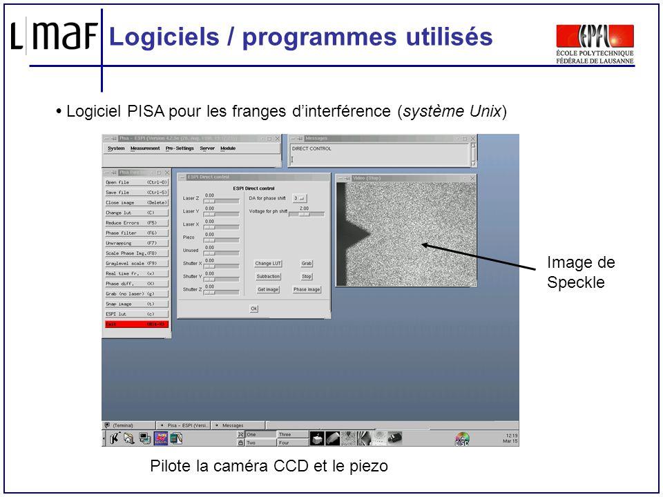 Logiciels / programmes utilisés Logiciel PISA pour les franges dinterférence (système Unix) Image de Speckle Pilote la caméra CCD et le piezo