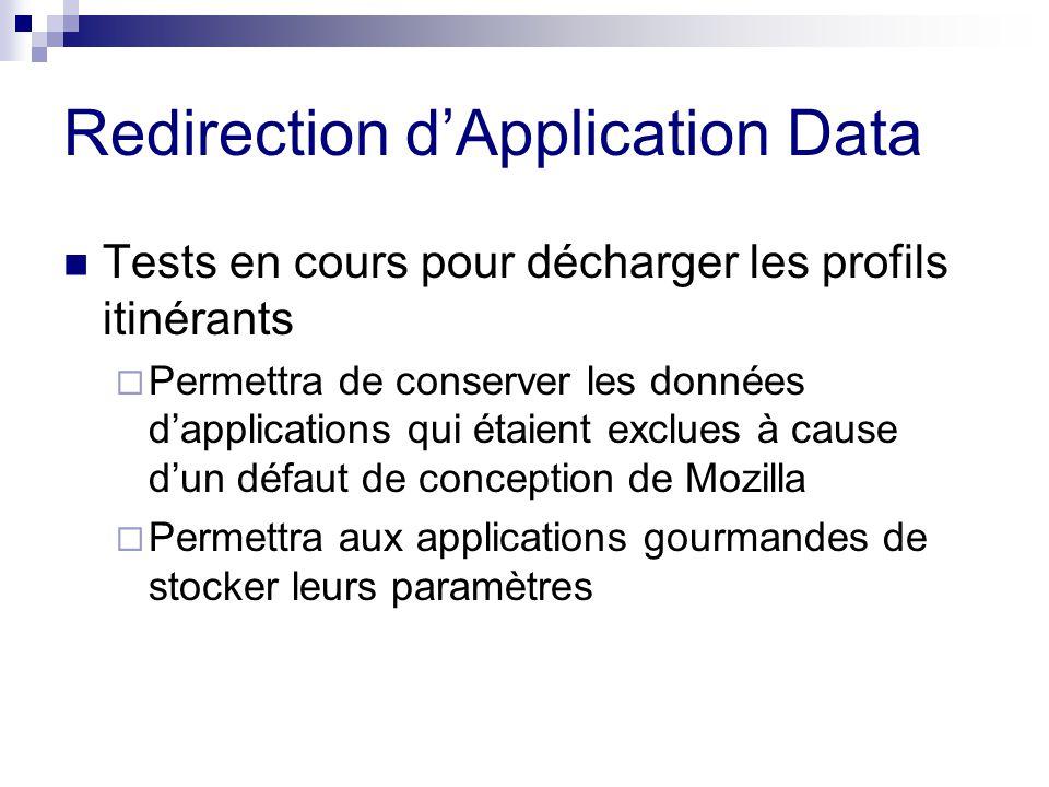 Redirection dApplication Data Tests en cours pour décharger les profils itinérants Permettra de conserver les données dapplications qui étaient exclues à cause dun défaut de conception de Mozilla Permettra aux applications gourmandes de stocker leurs paramètres