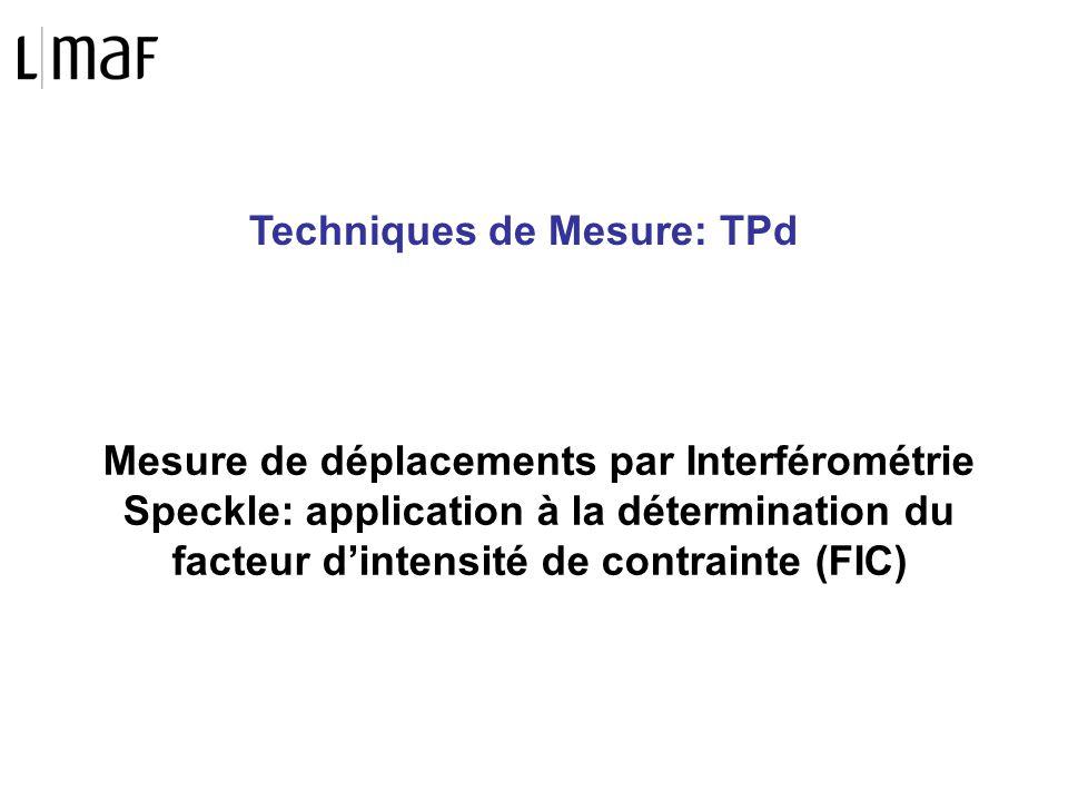 Techniques de Mesure: TPd Mesure de déplacements par Interférométrie Speckle: application à la détermination du facteur dintensité de contrainte (FIC)