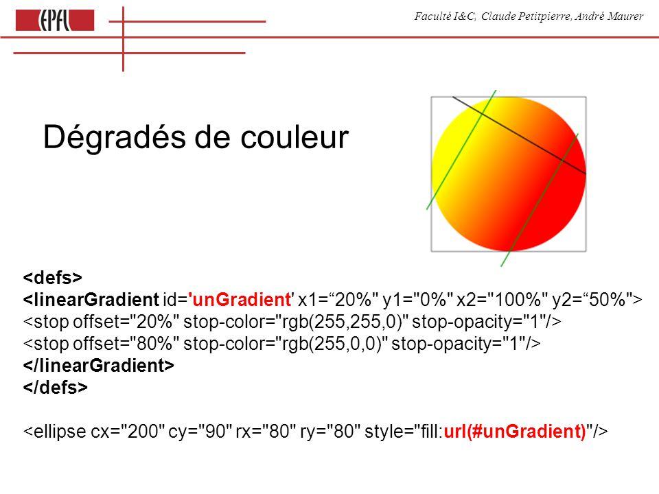 Faculté I&C, Claude Petitpierre, André Maurer Dégradés de couleur