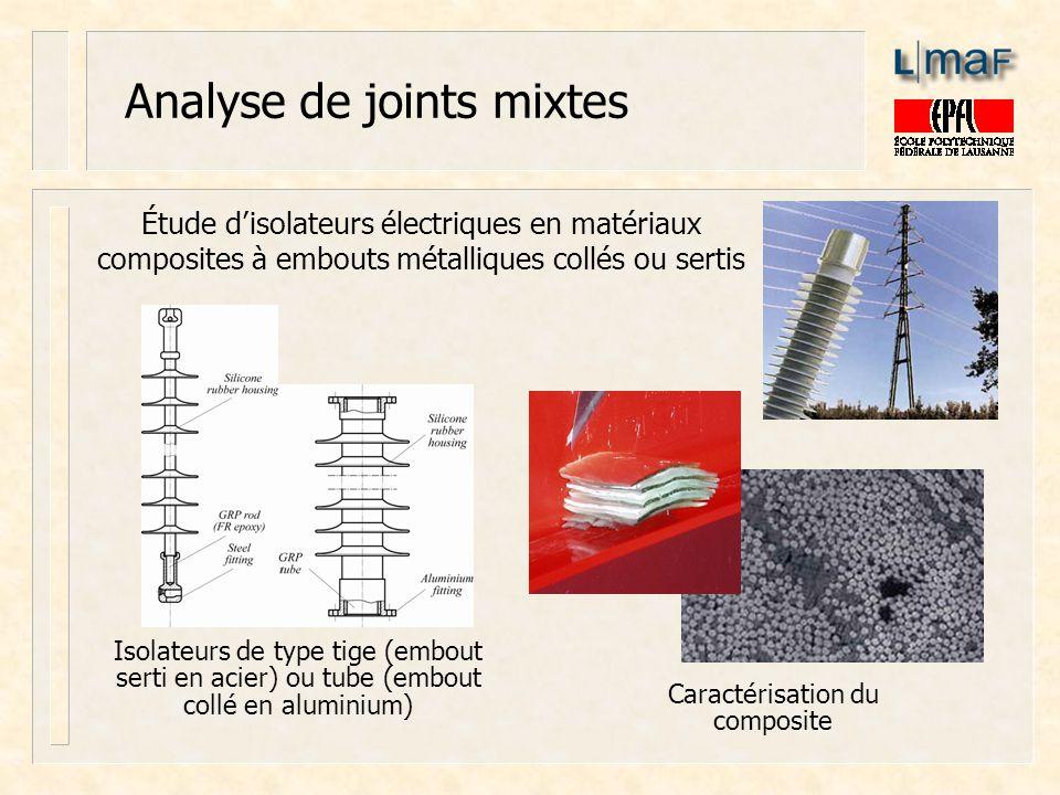 Analyse de joints mixtes Isolateurs de type tige (embout serti en acier) ou tube (embout collé en aluminium) Étude disolateurs électriques en matériau