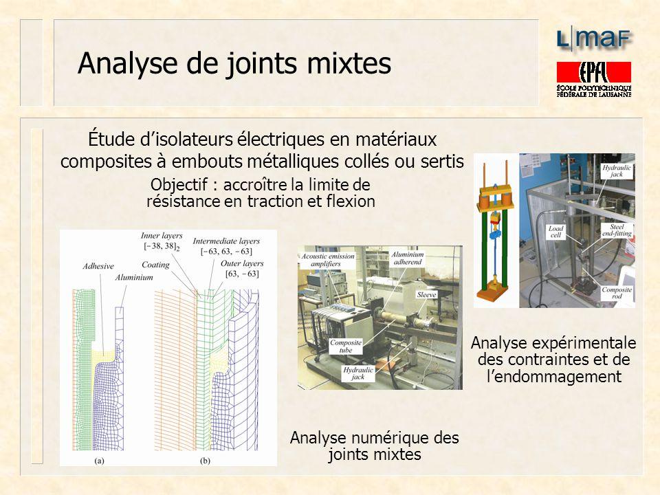 Analyse de joints mixtes Analyse expérimentale des contraintes et de lendommagement Étude disolateurs électriques en matériaux composites à embouts mé