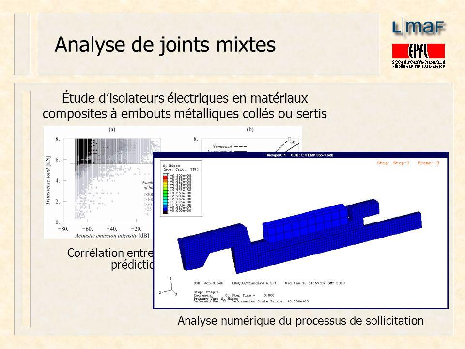Analyse de joints mixtes Corrélation entre émission acoustique et prédictions numériques Étude disolateurs électriques en matériaux composites à embou