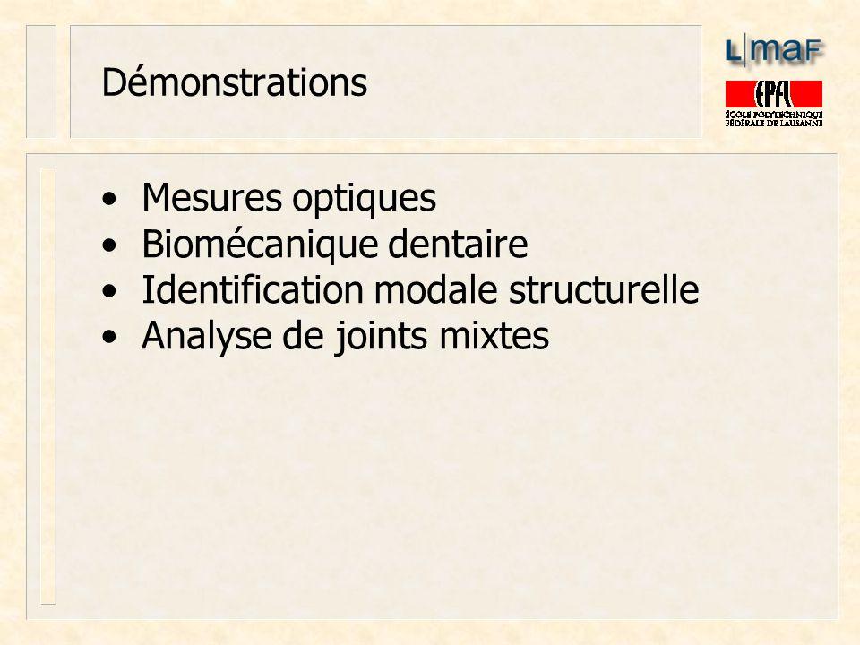 Démonstrations Mesures optiques Biomécanique dentaire Identification modale structurelle Analyse de joints mixtes