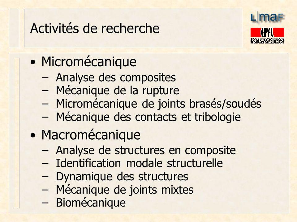 Activités de recherche Micromécanique Macromécanique Analyse des composites Mécanique de la rupture Micromécanique de joints brasés/soudés Mécanique d