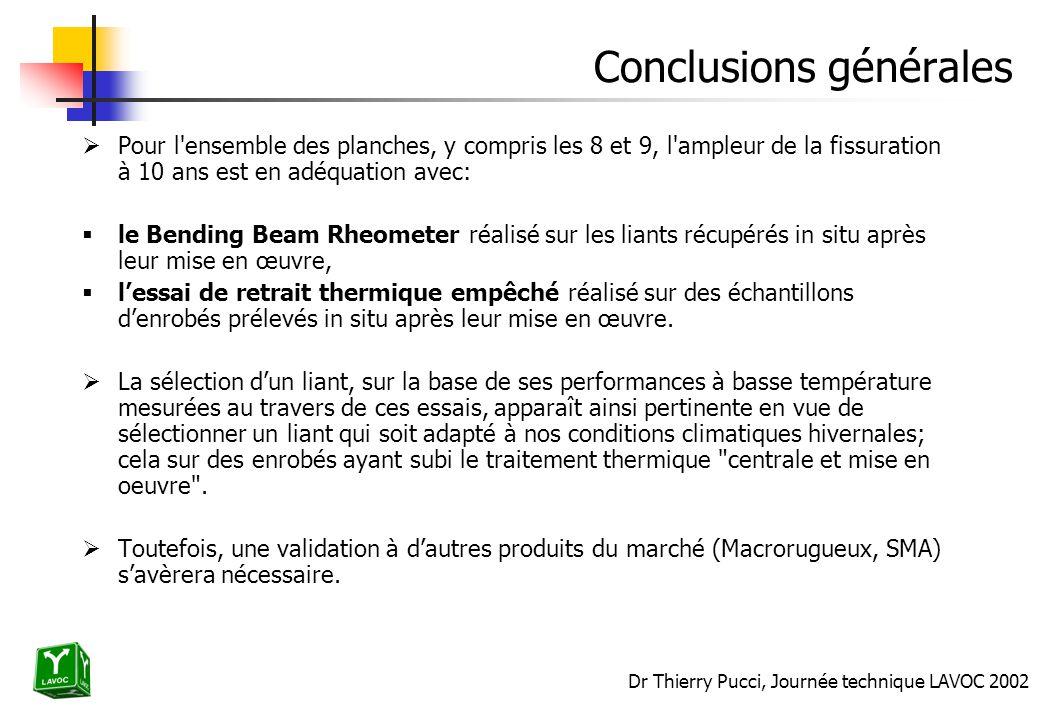 Dr Thierry Pucci, Journée technique LAVOC 2002 Conclusions générales Pour l'ensemble des planches, y compris les 8 et 9, l'ampleur de la fissuration à