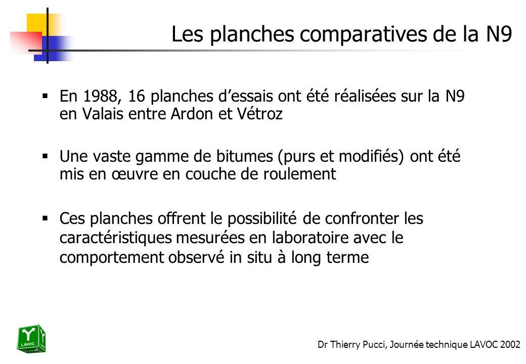 Dr Thierry Pucci, Journée technique LAVOC 2002 Les planches comparatives de la N9 En 1988, 16 planches dessais ont été réalisées sur la N9 en Valais e