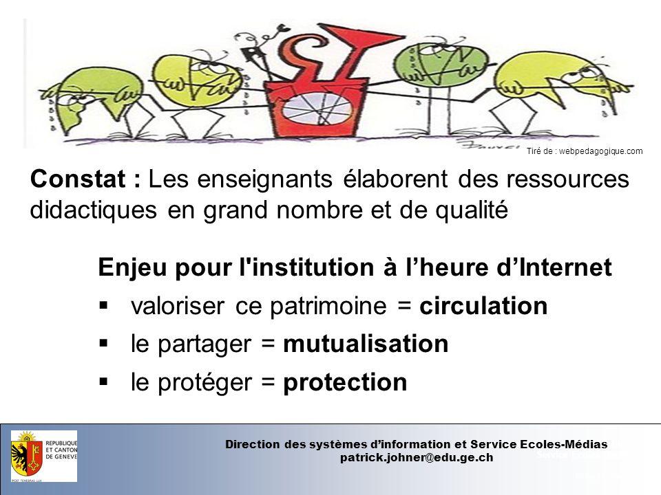 07.06.12 - Page 1 Département de linstruction publique Service Ecoles-Médias Des exemples au DIP-GE http://php.educanet2.ch/festival/spip.php?article103 http://icp.ge.ch/po/cliotexte/ClioHOME.html http://icp.ge.ch/dip/langues/ Direction des systèmes dinformation et Service Ecoles-Médias patrick.johner@edu.ge.ch