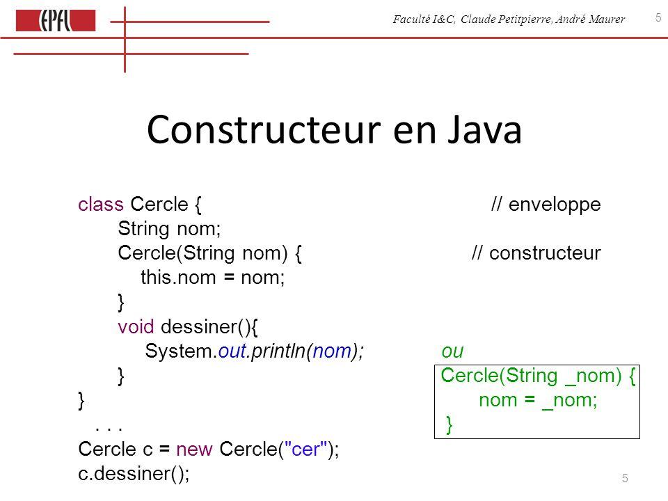 Faculté I&C, Claude Petitpierre, André Maurer 5 5 class Cercle { // enveloppe String nom; Cercle(String nom) { // constructeur this.nom = nom; } void dessiner(){ System.out.println(nom); ou } Cercle(String _nom) { }nom = _nom;...