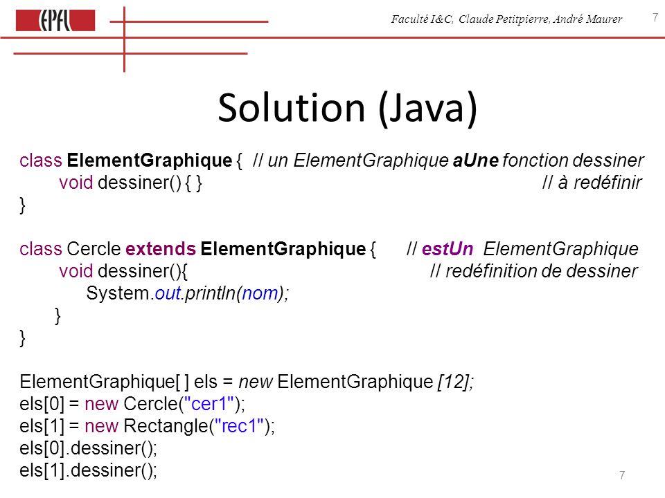 Faculté I&C, Claude Petitpierre, André Maurer 8 Comparaison Java - Javascript En Java on définit explicitement la relation estUn.