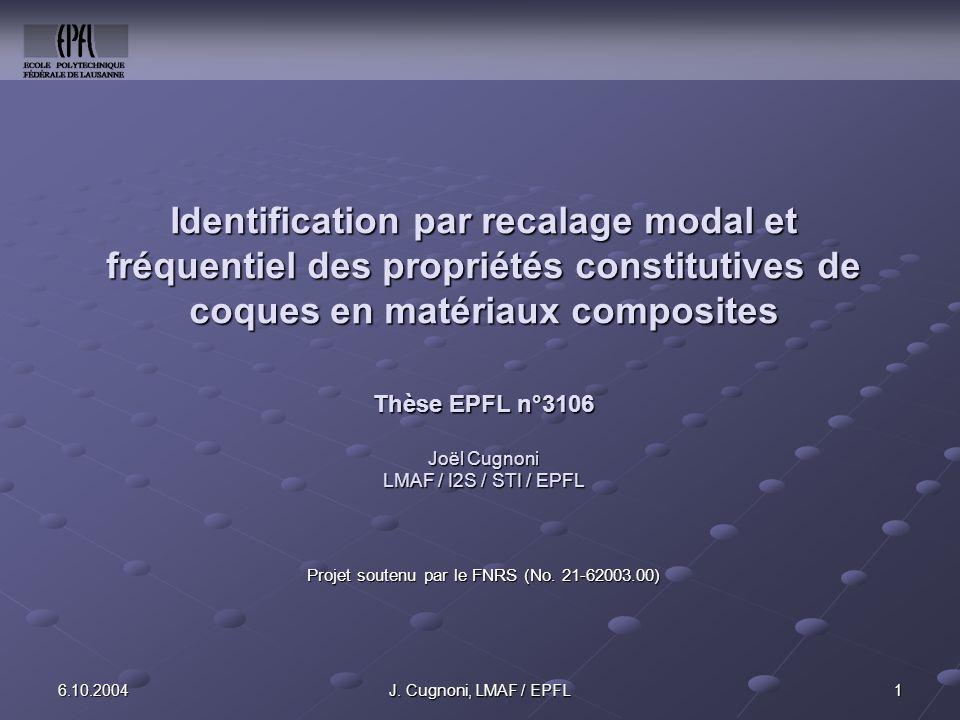 LMAF / EPFL 26.10.2004J.Cugnoni, LMAF / EPFL Structure de la présentation 1.